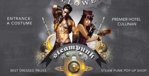 Steampunk Halloween and live rock music